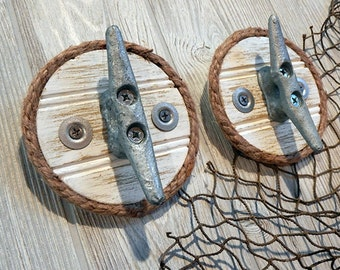 Nautical Cleat Wall Hook - Galvanized Boat Dock Cleat - Beach Decor - Coat Towel Rack - Seaside Cottage Home - Rustic Weathered - Jute Rope