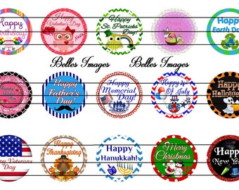All Holiday Bottle Cap Images 1 Inch Circles, Cupcake Toppers, Stickers
