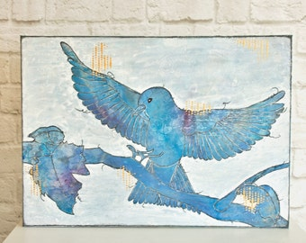 Original Big Mixed Media Canvas: Blue Bird of Happiness Landing on a Tree Branch (in blue, white, Bordeaux with gold)