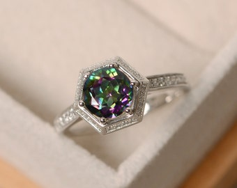 Mystic topaz ring, engagement ring, with band, colorful ring, sterling silver