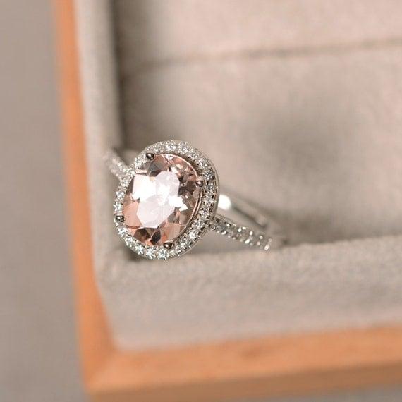 natural morganite ring sterling silver pink gemstone. Black Bedroom Furniture Sets. Home Design Ideas