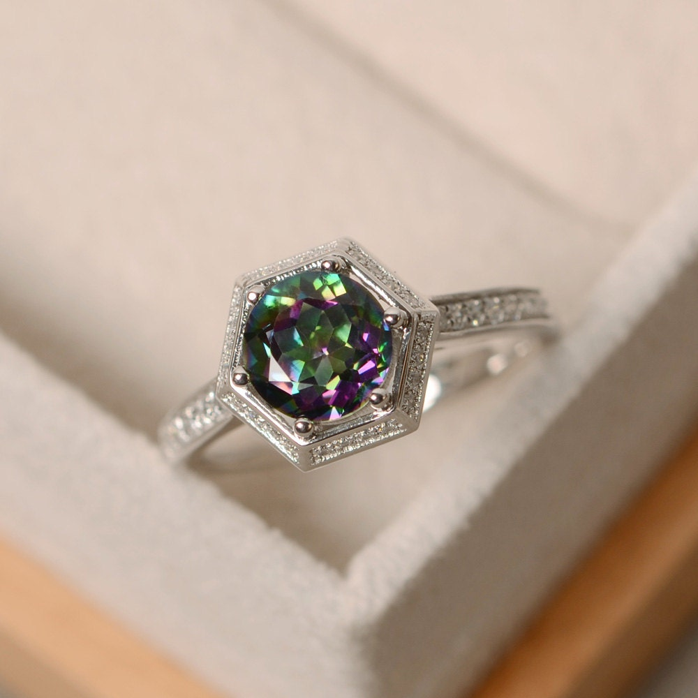Mystic Topaz Ring Engagement Ring With Band Colorful Ring