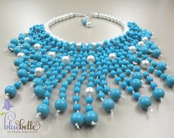 Natural Taiwan Turquoise Beads necklace  with white glass pearl, handmade with LOVE