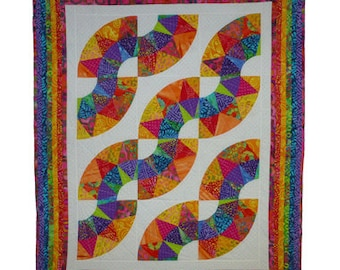Batik Quilt or Wallhanging QMD-001 Machine pieced and quilted from 21 different cotton Batik fabrics