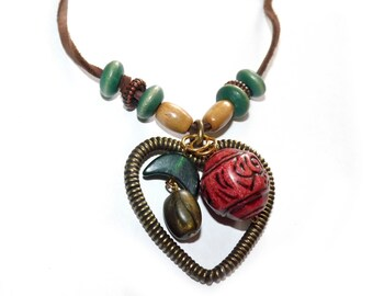 Heart Charm Boho Necklace, Beaded Heart Necklace, Bohemian Beaded Necklace, Gifts under 20, Nature Inspired Necklace, Bronze Heart Jewelry