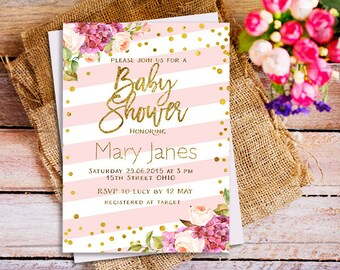 Pink and Gold baby shower invitation, pink and glitter invitation, pink gold invitation, Pink Stripes Baby Shower Invitation, blush gold