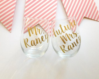 Personalized Future Mrs. and Mr. Wine Glasses, Engagement Gift for couple