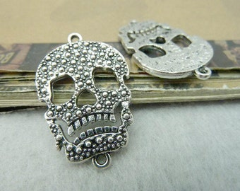 10 Skull Connector Charms Antique Silver Tone