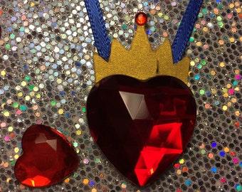 10 Disney Descendants Inspired Evie Crowned Heart Necklaces, Queen of Hearts