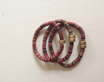 African vinly bead bracelet stack, set of 3