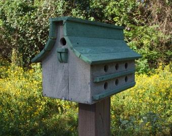 Purple Martin bird house, Green and white bird house, distressed  bird house, rustic bird house, large bird house, Bird House,