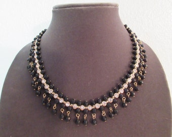 Absolute Stunning Vintage Black Beaded with Rhinestone Necklace
