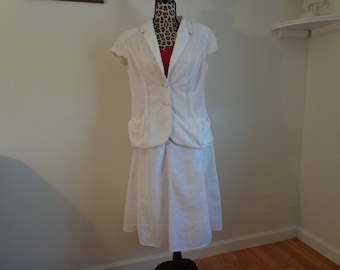 Vintage White Eyelit Skirt and Top - Size 12