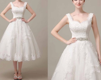 50shouse_ 50s inspired retro feel lace top with lace Tulle tea length wedding dress with crystal sash_ custom make