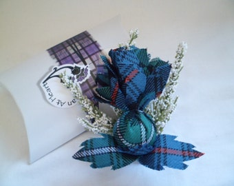 Scottish Tartan Large Heather & Thistle Buttonhole