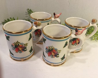 Waterford Holiday Heirlooms Georgian Mugs 4 Piece Set
