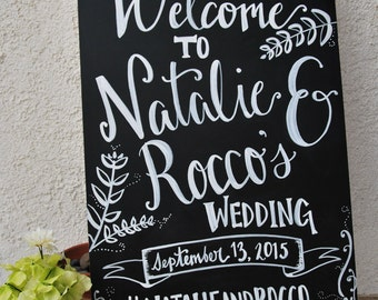 Hand Painted Wedding Welcome Chalkboard Sign