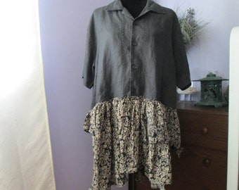 Eco Upcycled  Bohemian XL/1X Gypsy Upcycled Tunic Dress