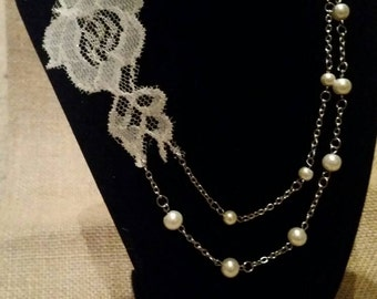 Simple elegance bridal necklace ivory lace and ivory pearl multi strand necklace bridal statement necklace white gold plated country rustic