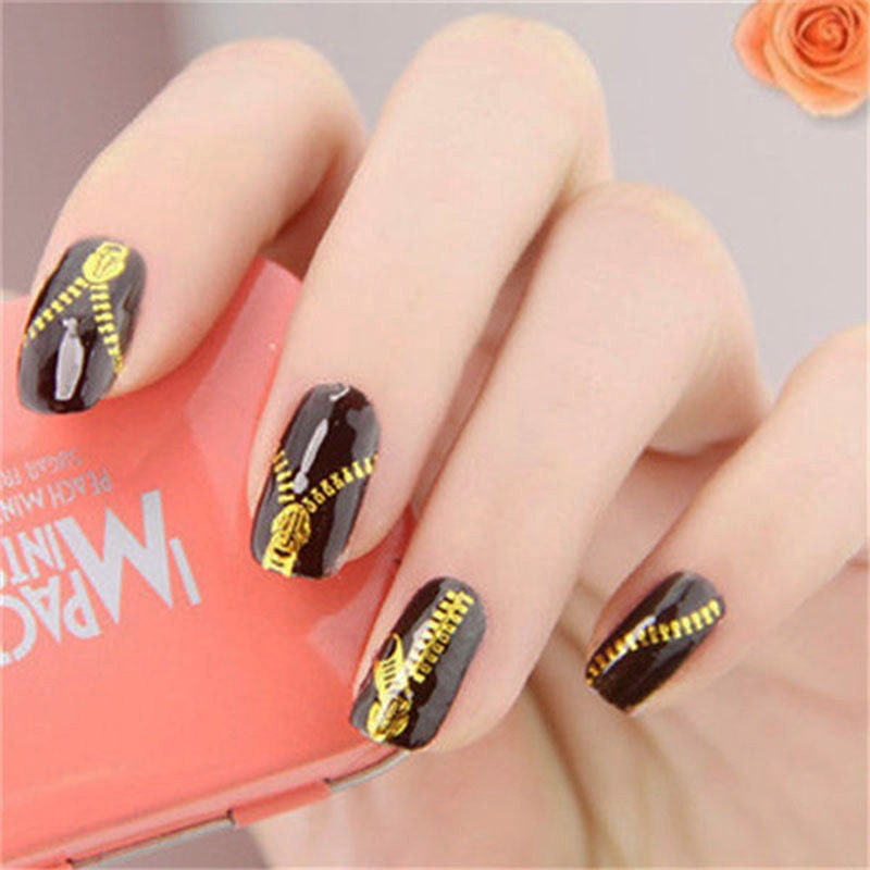Nail Art Stickers: Nail Decals Zippers Gold Nail Art Water Transfers Stickers
