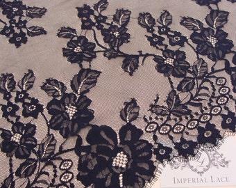 Black chantilly Lace fabric, Wedding lace, black chantilly lace fabric, flower pattern  M000002