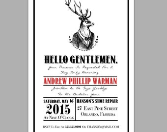 Etched Stag DIY Printable Stag/Bachelor Party Invitation