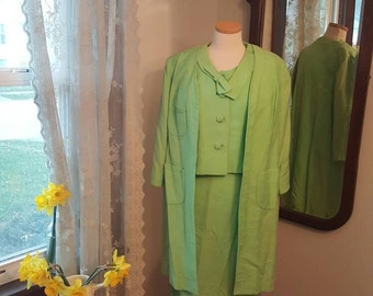 1950's 50's Three Piece Dress Suit 1950s 50s Light Green Mint Bow Detail Collar Secretary Wiggle Size Medium to Large