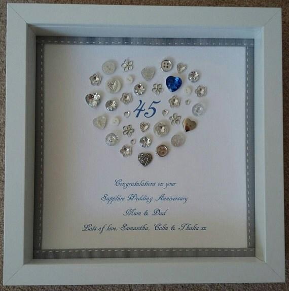 Sapphire Wedding Anniversary Gifts: Personalised Sapphire Wedding 45th Anniversary Framed Picture
