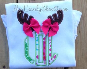 Girls Christmas shirt, Boys Christmas shirt, Christmas reindeer shirt, Monogrammed Christmas shirt, Boys hunting shirt, Girls hunting shirt