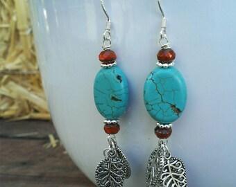 Tribal Oval Turquoise Dangling Sliver Leaves Brunt Orange Picasso Beads