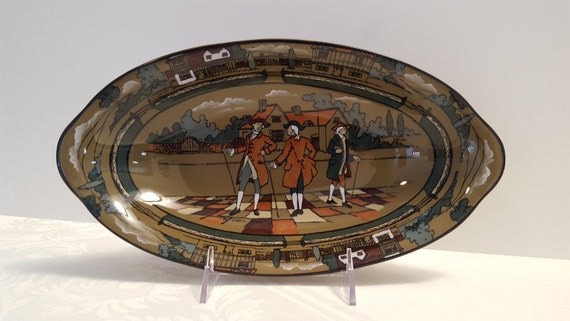 1908 Buffalo Pottery - Deldare 12'' x 6.5'' Relish Tray - Ye Olden Times, signed W. Foster