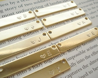 Hand Stamped Gold Bar Necklace...Personalized Name plate bar jewelry, Sorority gift, monogram, bridesmaid gift
