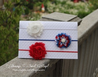 flower headband set. 4th of July headband, Red, white, and blue headband, birthday headband, baby photo prop