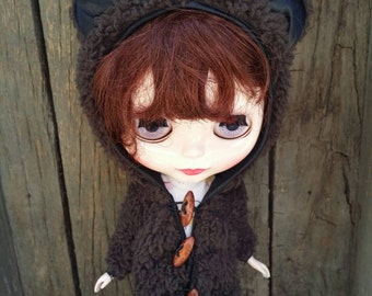 Brown Sheepskin coat for Blythe, Pullip, Pure neemo