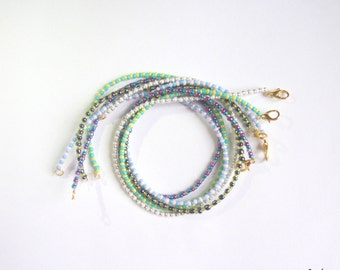 "N E W. Free Shipping. Set of 5 bright beaded bracelets in 2 turns ""Smusy""."
