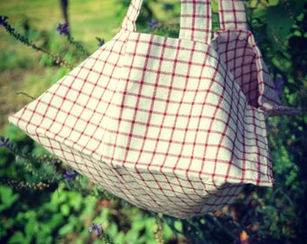 Vintage French Red and White Checked Sac a Tarte Cake/Quiche/Tart bag
