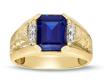 Yellow Gold Sapphire Ring, Men's Sapphire Ring, 10K Gold Ring with Diamonds Ring, Octagon Blue Gemstone Ring, Men's Sapphire Solitaire Ring