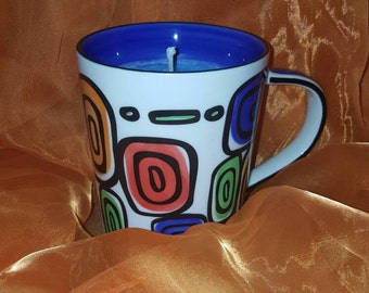 Blueberry cheesecake scented soy candle mug