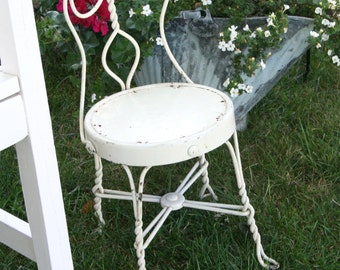 SALE: Vintage doll's ice cream parlor chair; wrought iron ice cream parlor small chair