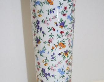 "Vintage ""chintz"" vase; faience style vase; small floral vase; shabby chic vase"