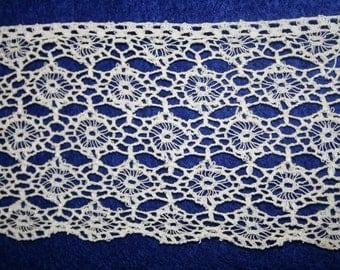 Vintage wide lace trim; ecru floral lace edging