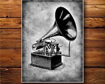 Gramophone Print, phonograph poster, Retro Decor BW0102