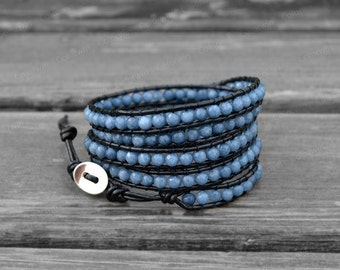 Airy Blue Wrap Bracelet Airy Blue Beaded Leather Bracelet Leather Wrap Bracelet Leather Jewelry Gifts