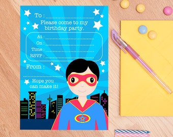 Superhero Invitations - Birthday Invitations And Thank You Cards For Boys - Super Hero Party Invites - Party Stationery - Party Supplies