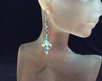 Vintage Blue Glass Beaded Rhinestone Dangle Earrings