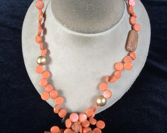 Vintage Long Orange & Shades Of Brown Wooden Beaded Necklace