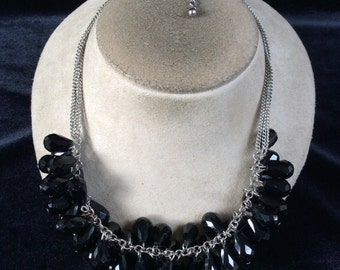Vintage Chunky Dangling Black Glass Beaded Necklace