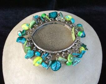 Vintage Shades Of Blue & Green Dangling Glass Stone Beaded Bracelet