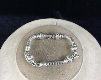 Vintage Silvertone Beaded Bracelet