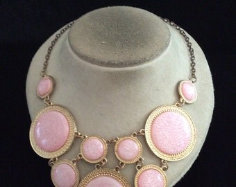Vintage Chunky Large Pink Stone Necklace